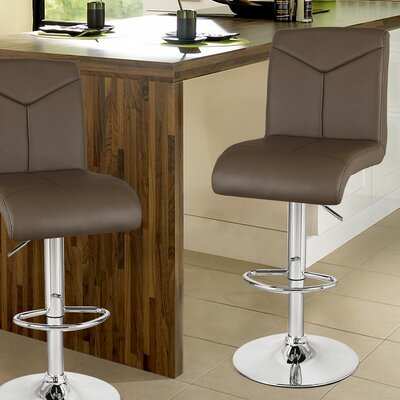Adjustable Height Swivel Bar Stool Upholstery: Gray Brown
