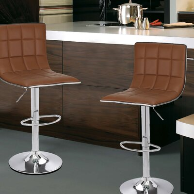 Adjustable Height Swivel Bar Stool Upholstery: Coffee