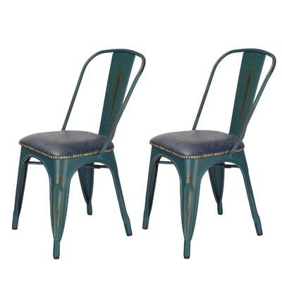 Vintage Tolix Metal Side Chair Finish: Teal