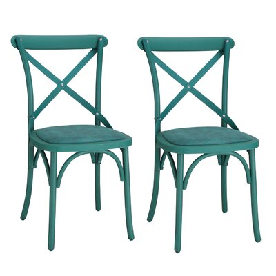 Eco-Friendly Vintage Genuine Leather Upholstered Dining Chair Finish: Teal