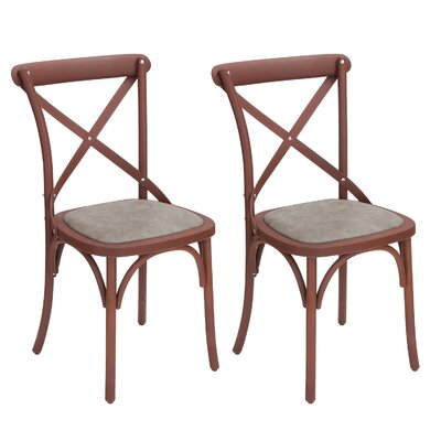 Eco-Friendly Vintage Genuine Leather Upholstered Dining Chair Finish: Reddish Brown