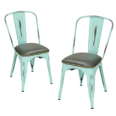 Vintage Tolix Metal Side Chair Finish: Aqua
