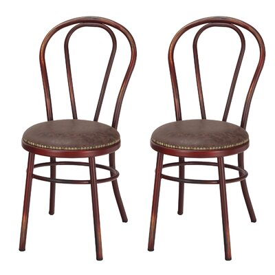 Vintage Metal Side Chair Finish: Red