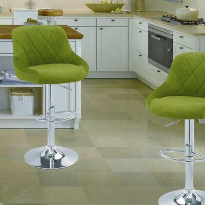 Adjustable Height Swivel Bar Stool Upholstery: Green