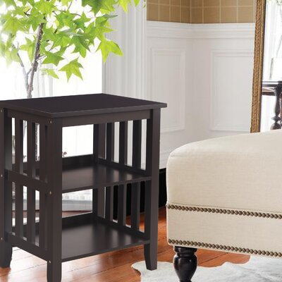 Image of 2 Shelf End Table Color: Dark Brown