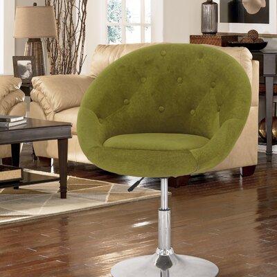Adjustable Height Swivel Bar Stool Upholstery: Green
