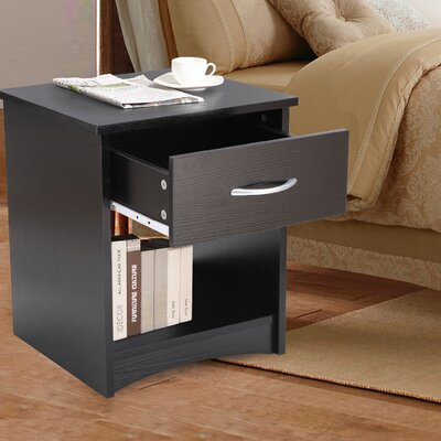 1 Drawer Nightstand Finish: Estate Black