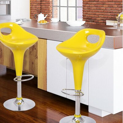 Adjustable Height Swivel Bar Stool Upholstery: Lemon Yellow