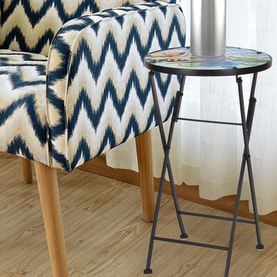 Stained Glass Folding Plant Stand End Table