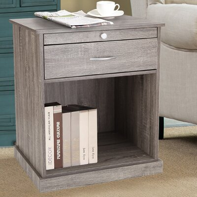 1 Drawer Nightstand Color: Salt Oak