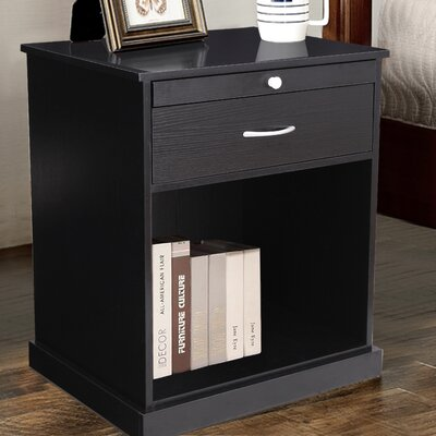 1 Drawer Nightstand Color: Estate Black