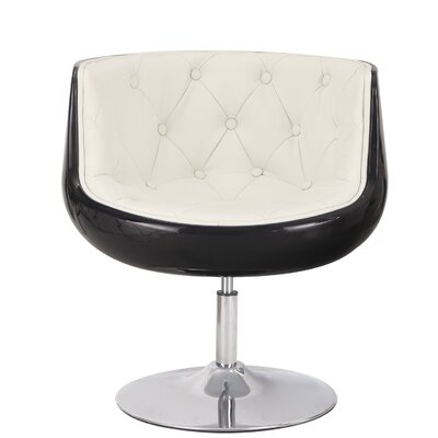 Glass Shaped Leisure Barrel Chair Upholstery: White