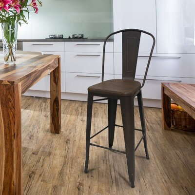30 inch Bar Stool Upholstery: Black