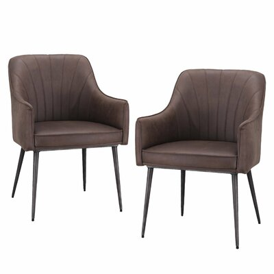 Luxury Modern Brown PU Leather Arm Chair (Set of 2)