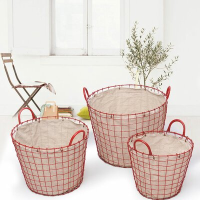 3 Piece Oval Urban Style Laundry Set Color: Red