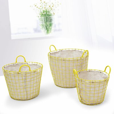 AdecoTrading 3 Piece Oval Urban Style Laundry Set Color: Yellow