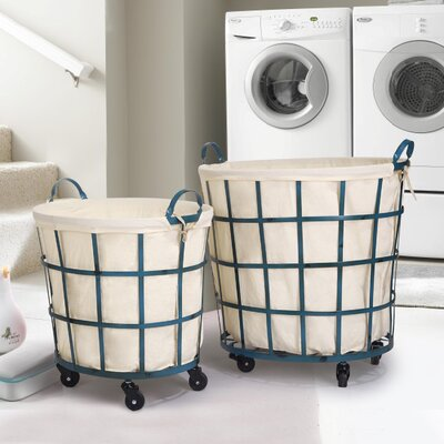 2 Piece Round Rolling Laundry Set Color: Teal Blue