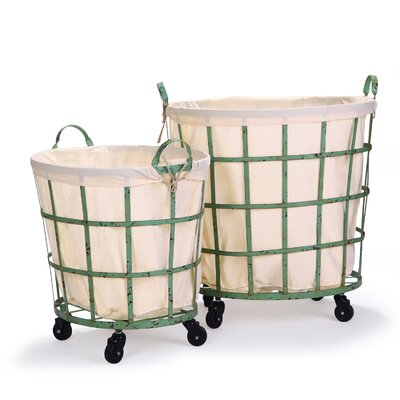 2 Piece Round Rolling Laundry Set Color: Khaki Green