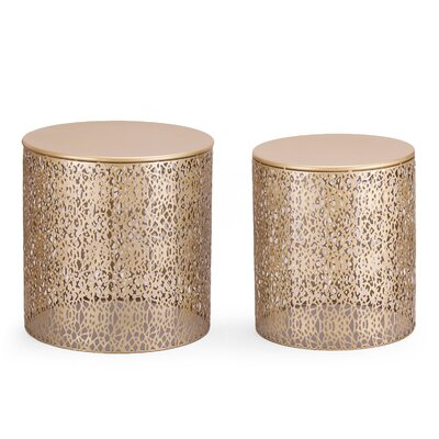 Heenan 2 Piece Coffee Side Table Color: Golden