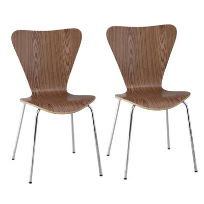 Edensor Indoor/Outdoor Side Chair (Set of 2) Finish: Natural Walnut Veneer