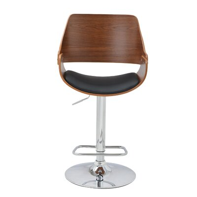 Alouette Bent Wood Swivel Bar Stool Upholstery: Black
