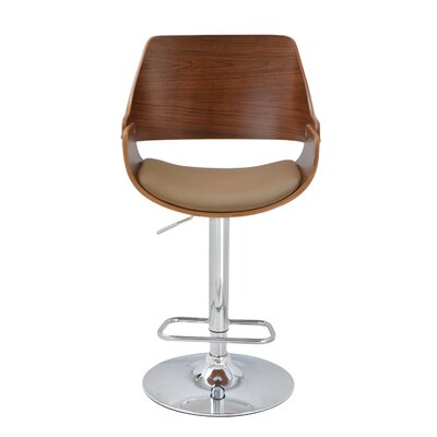 Alouette Bent Wood Swivel Bar Stool Upholstery: Deep Beige