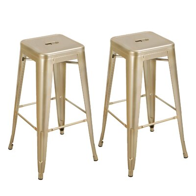 Vivian Bar Stool Color: Glossy Gold