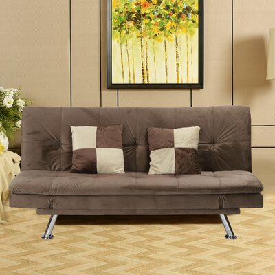 Louella Fabric Sleeper Sofa with 2 Pillows Upholstery: Dark Brown
