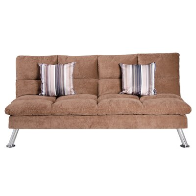 Jena Fabric Sleeper Sofa with 2 Pillows Color: Coffee