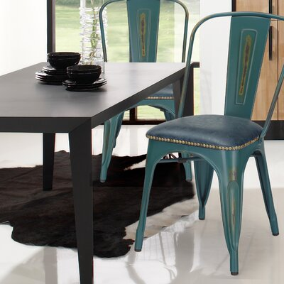 Vintage Tolix Upholstered Dining Chair Color: Teal