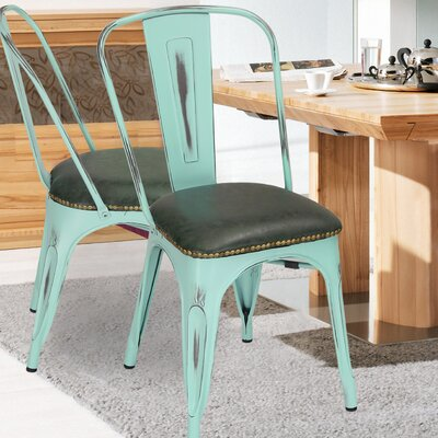 Vintage Tolix Upholstered Dining Chair Color: Aqua