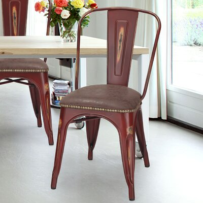 Vintage Tolix Metal Side Chair Finish: Red