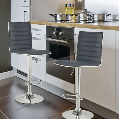 Manuel Adjustable Height Swivel Bar Stool Upholstery: Grey
