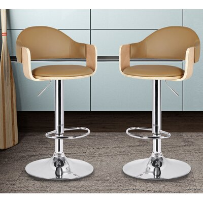 Adjustable Height Swivel Bar Stool Seat Color: Beige