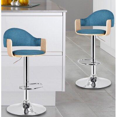 Adjustable Height Swivel Bar Stool Seat Color: Blue
