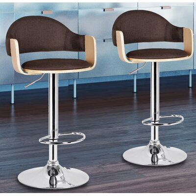 Adjustable Height Swivel Bar Stool Seat Color: Brown