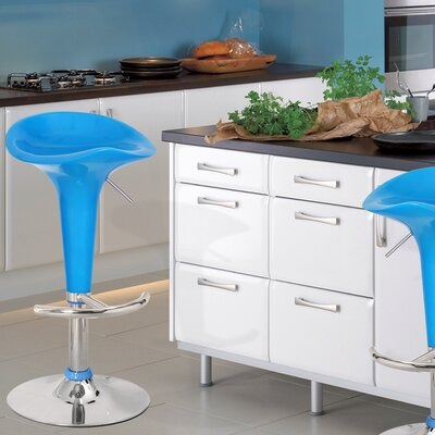 Adjustable Height Swivel Bar Stool (Set of 2) Finish: Light Blue