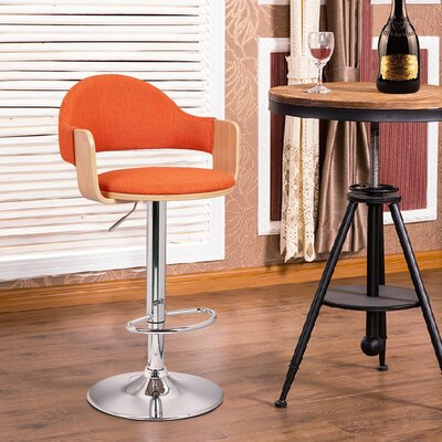 Adjustable Height Swivel Bar Stool Seat Color: Orange