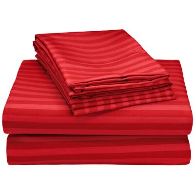 Hampton 4 Piece Sheet Set Color: Maroon, Size: Queen