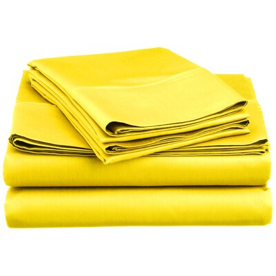 Super Bright Sheet Set Size: Full, Color: Yellow