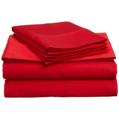 Super Bright Sheet Set Size: King, Color: Red