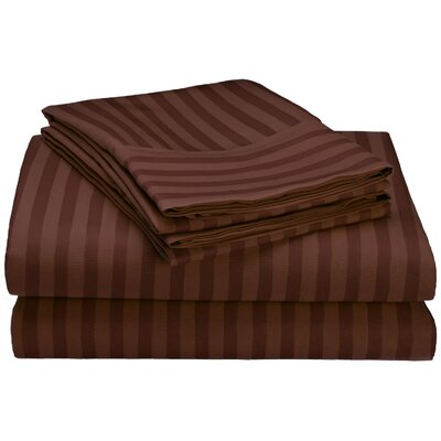 Hampton 4 Piece Sheet Set Size: Full, Color: Chocolate