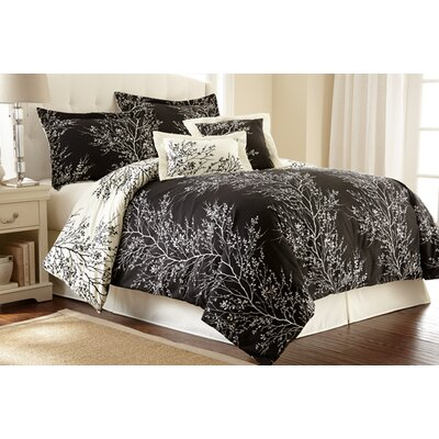 Foliage 6 Piece Reversible Comforter Set Size: Queen, Color: Black / Ivory