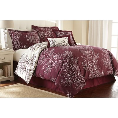 Foliage 6 Piece Reversible Comforter Set Color: Burgundy / Ivory, Size: King