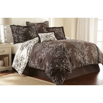 Foliage 6 Piece Reversible Comforter Set Color: Chocolate / Ivory, Size: King