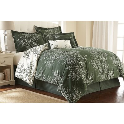 Foliage 6 Piece Reversible Comforter Set Color: Hunter / Ivory, Size: King