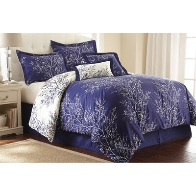 Foliage 6 Piece Reversible Comforter Set Size: Queen, Color: Navy / Ivory