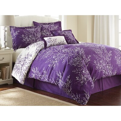 Foliage 6 Piece Reversible Comforter Set Color: Purple / Ivory, Size: King