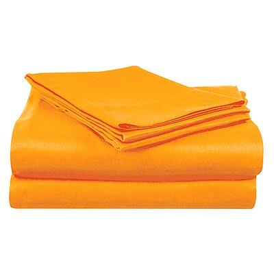 Super Bright Sheet Set Size: Twin, Color: Orange