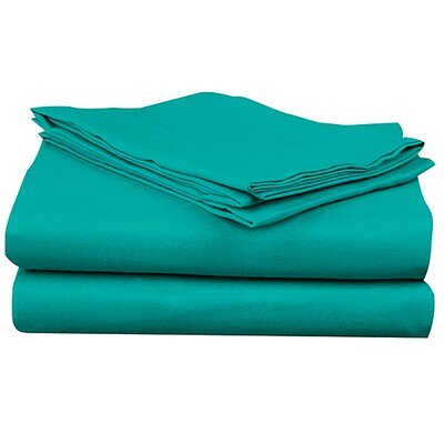 Super Bright Sheet Set Size: Twin, Color: Turquoise